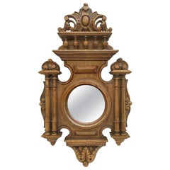 Antique Carved Wood Round Mirror, Renaissance Style, circa 1930