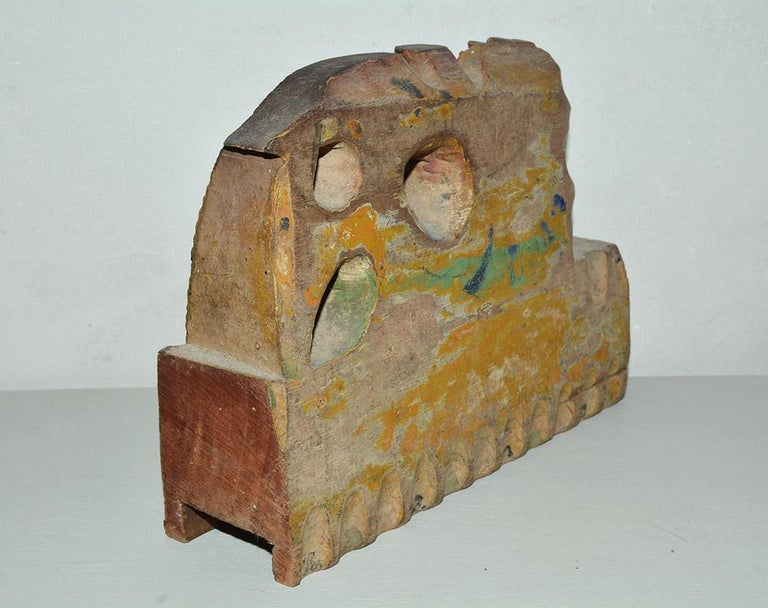 Primitive Antique Carved Wood Sculpture Decorative Piece from Sicilian Donkey Cart For Sale