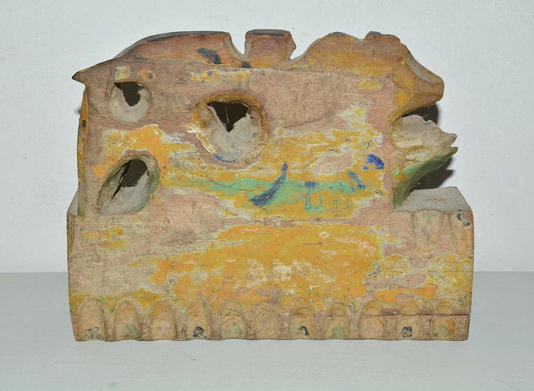 Italian Antique Carved Wood Sculpture Decorative Piece from Sicilian Donkey Cart For Sale