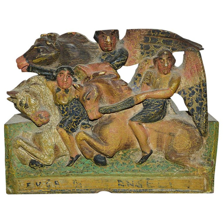 Antique Carved Wood Sculpture Decorative Piece from Sicilian Donkey Cart For Sale