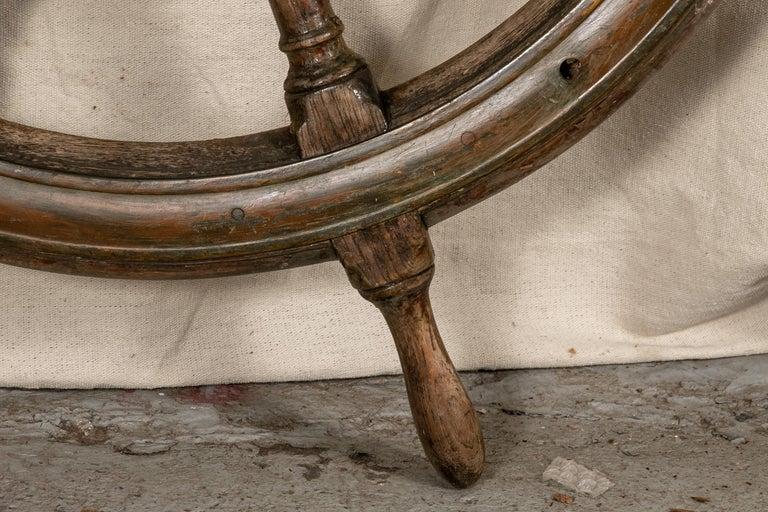 Folk Art Antique Carved Wood Ship's Wheel For Sale