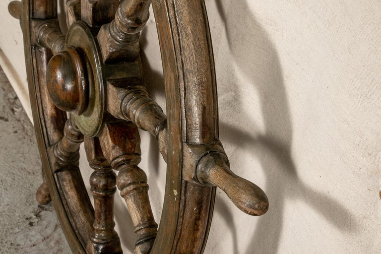 English Antique Carved Wood Ship's Wheel For Sale