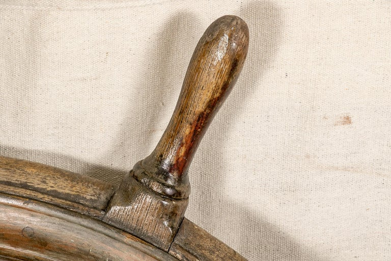 19th Century Antique Carved Wood Ship's Wheel For Sale
