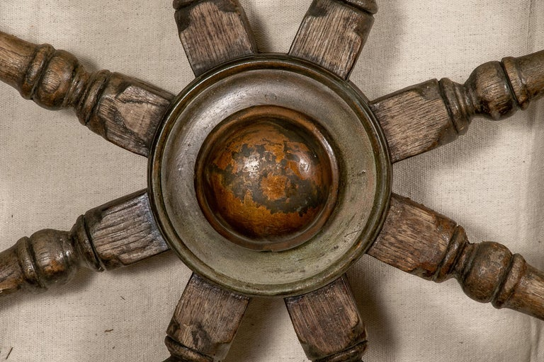 Antique Carved Wood Ship's Wheel For Sale 1
