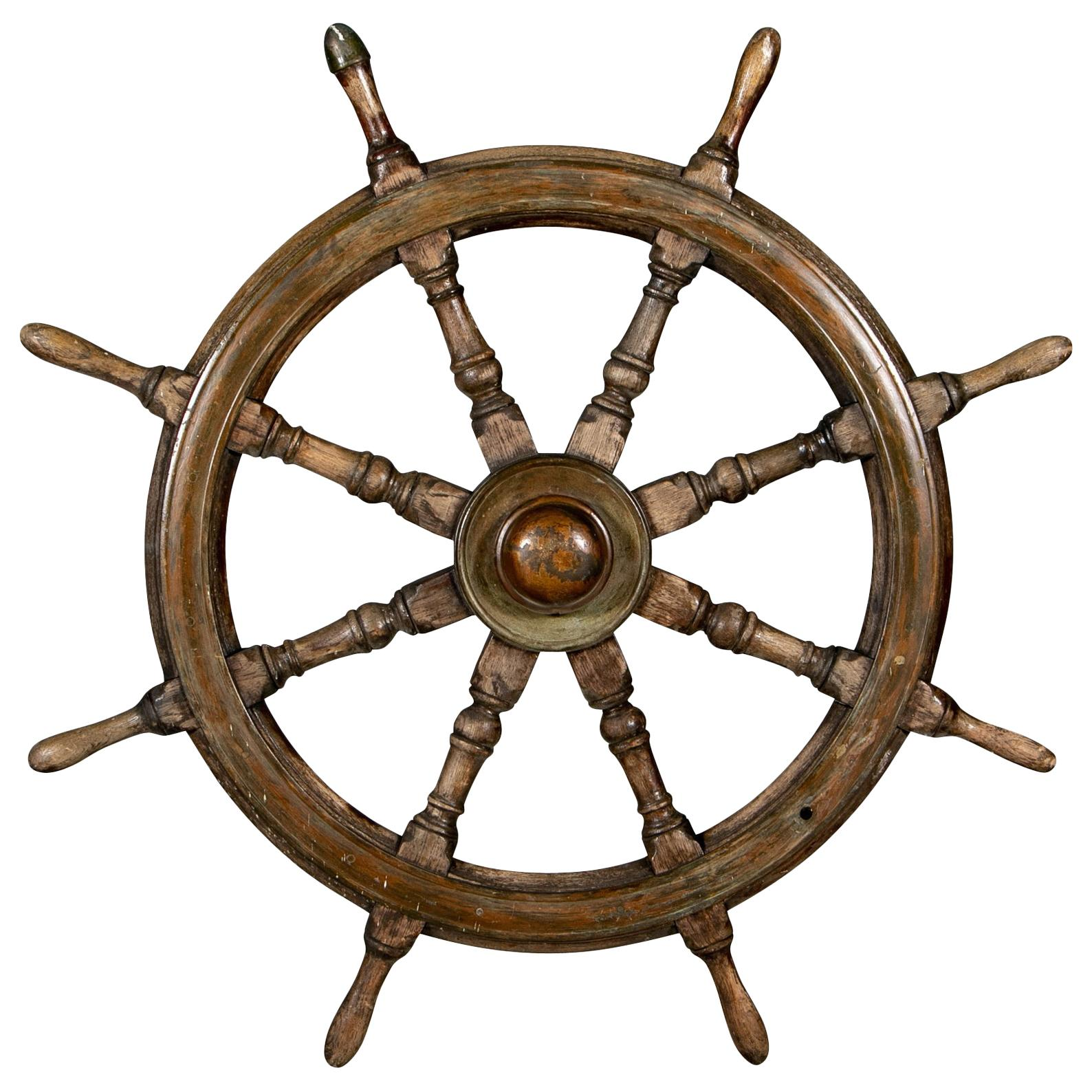 Antique Carved Wood Ship's Wheel