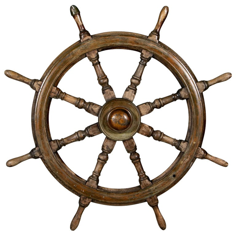 Antique Carved Wood Ship's Wheel For Sale