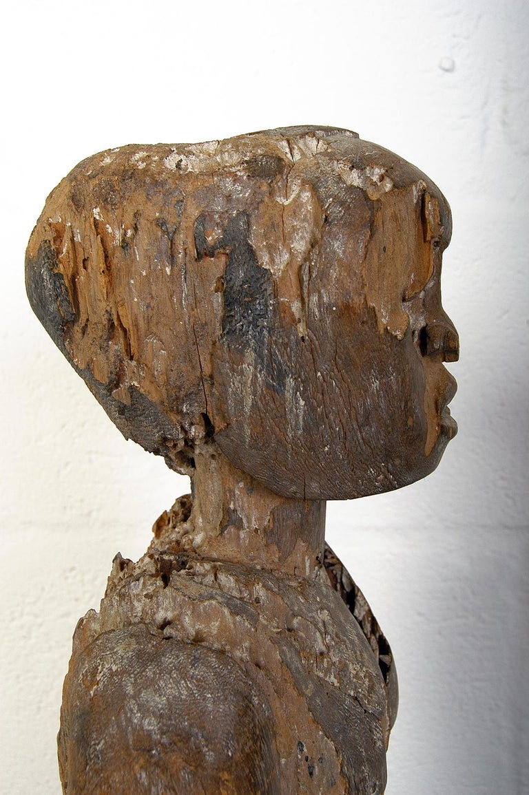 Antique Carved Wood Folk Art Decorative Sculpture Statue Man on Ebonised Plinth For Sale 5