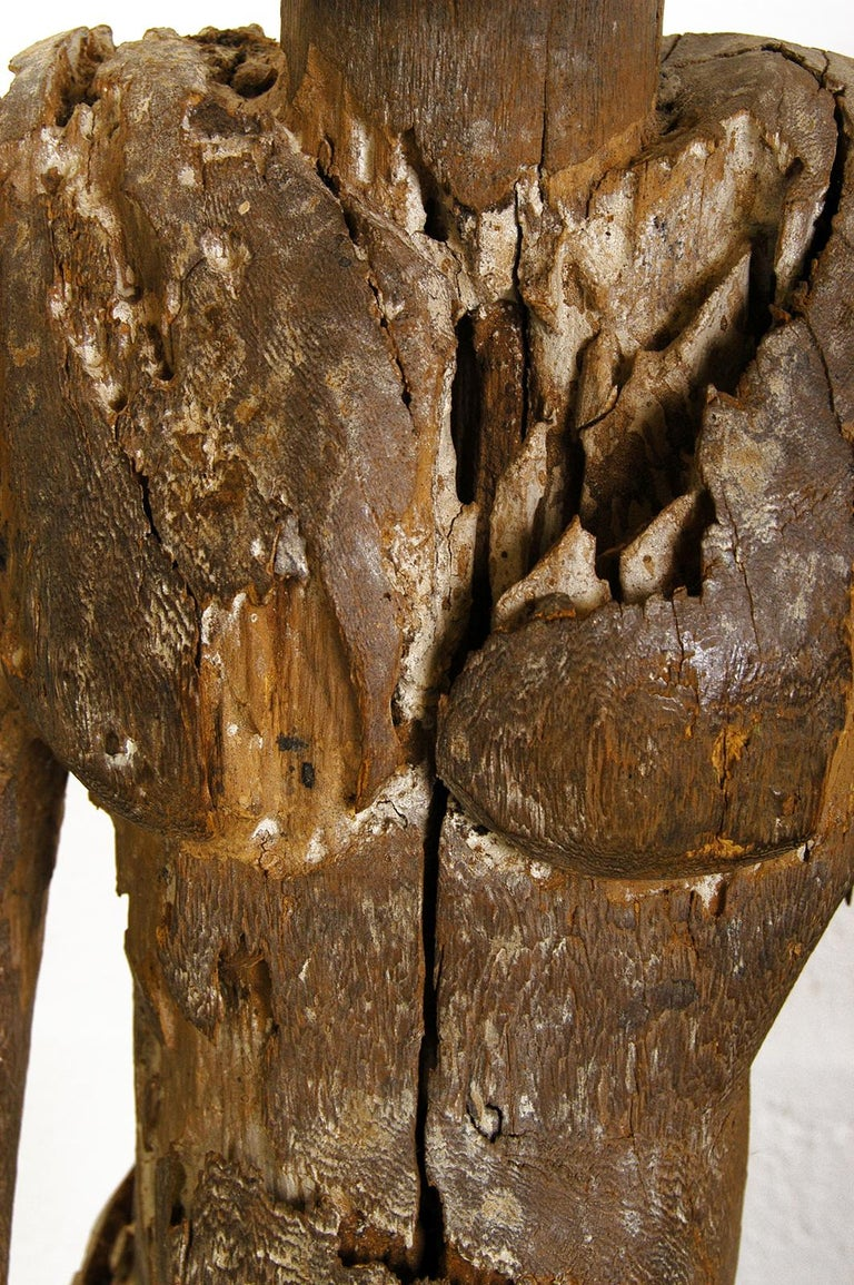 Antique Carved Wood Folk Art Decorative Sculpture Statue Man on Ebonised Plinth For Sale 6