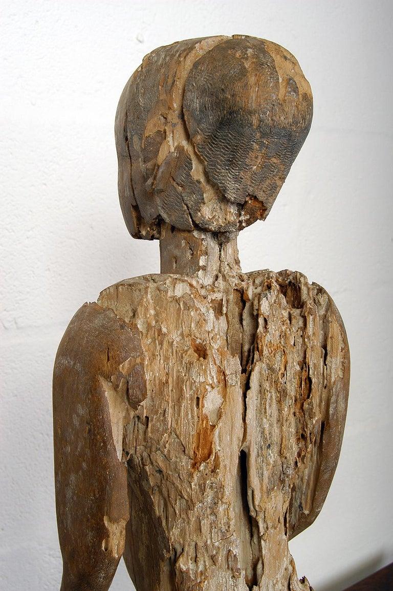 Antique Carved Wood Folk Art Decorative Sculpture Statue Man on Ebonised Plinth For Sale 1