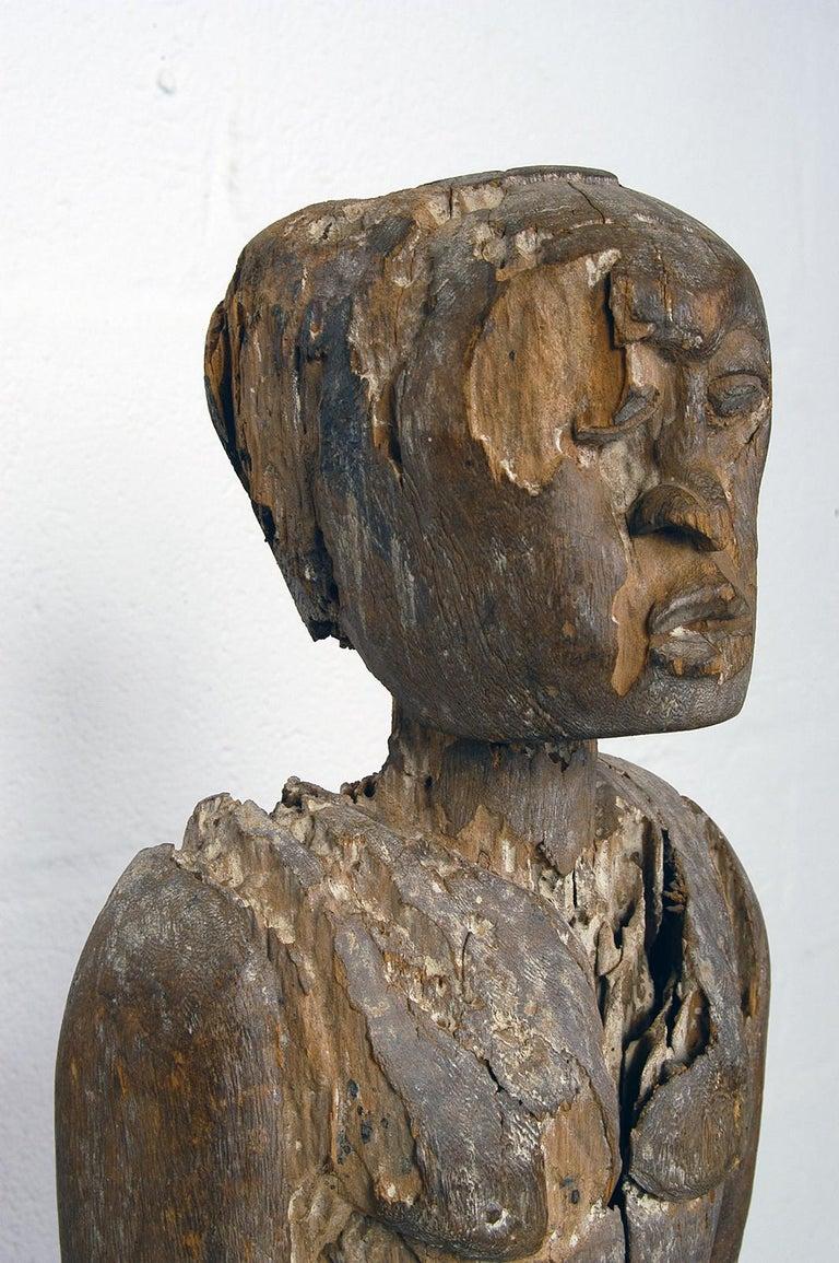 Antique Carved Wood Folk Art Decorative Sculpture Statue Man on Ebonised Plinth For Sale 2