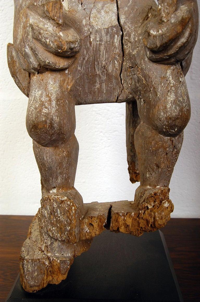 Antique Carved Wood Folk Art Decorative Sculpture Statue Man on Ebonised Plinth For Sale 3