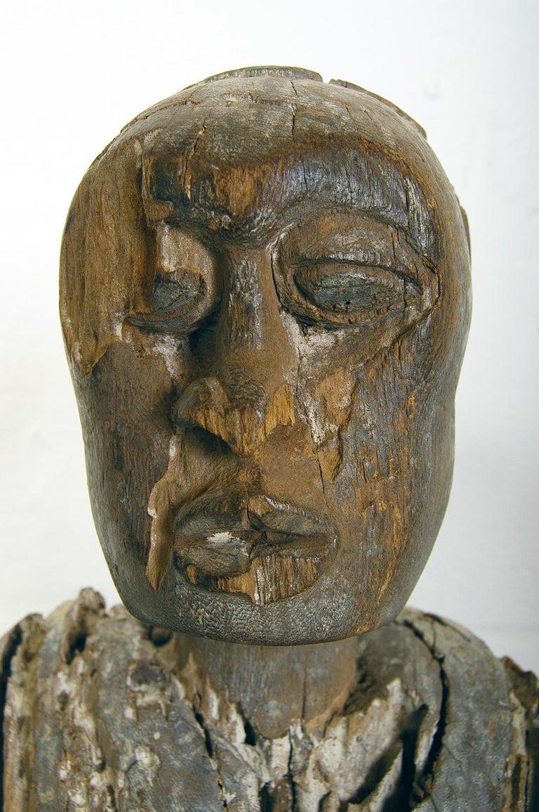 Antique Carved Wood Folk Art Decorative Sculpture Statue Man on Ebonised Plinth For Sale 4