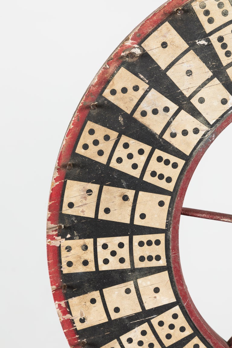 American Antique Casino Carnival Gambling Game Wheel Wood and Iron For Sale