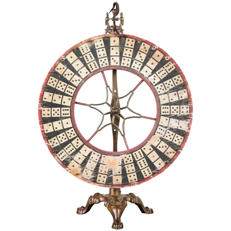 Antique Casino Carnival Gambling Game Wheel Wood and Iron For Sale