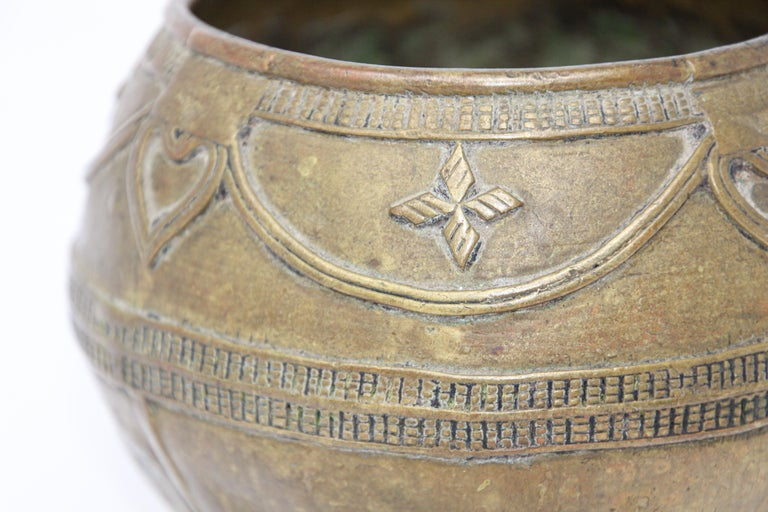 Folk Art Antique Cast brass Measuring Bowl from Northern India For Sale