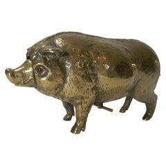 Antique Cast Brass or Polished Bronze Novelty Mechanical Desk Bell, Pig