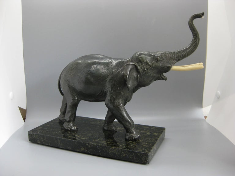 Antique Cast Bronze Elephant Figural Statue Sculpture on Marble Base For Sale 3