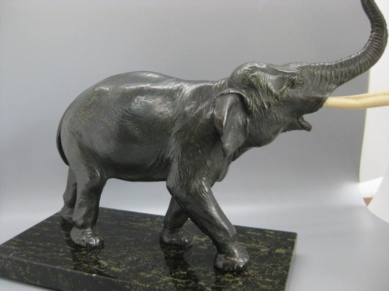 Antique Cast Bronze Elephant Figural Statue Sculpture on Marble Base For Sale 4