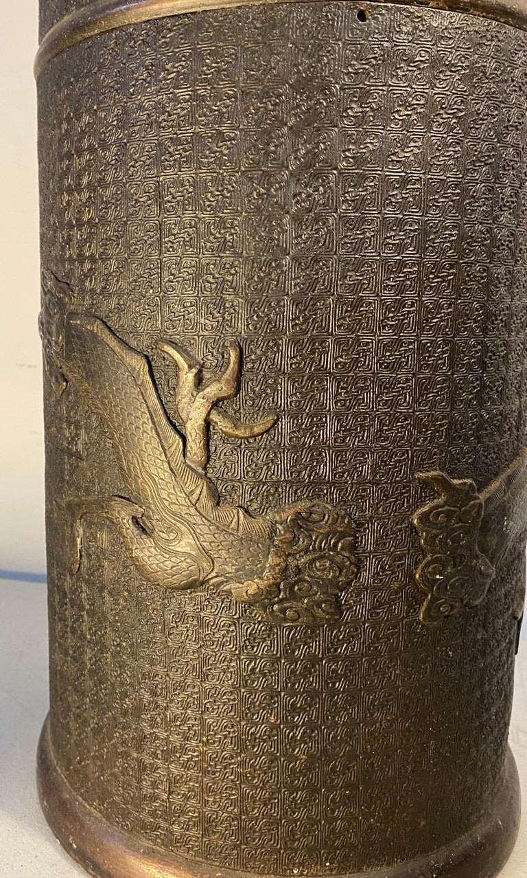 Antique Cast Bronze Japanese Umbrella / Cane Stand with Dragon Motif For Sale 2
