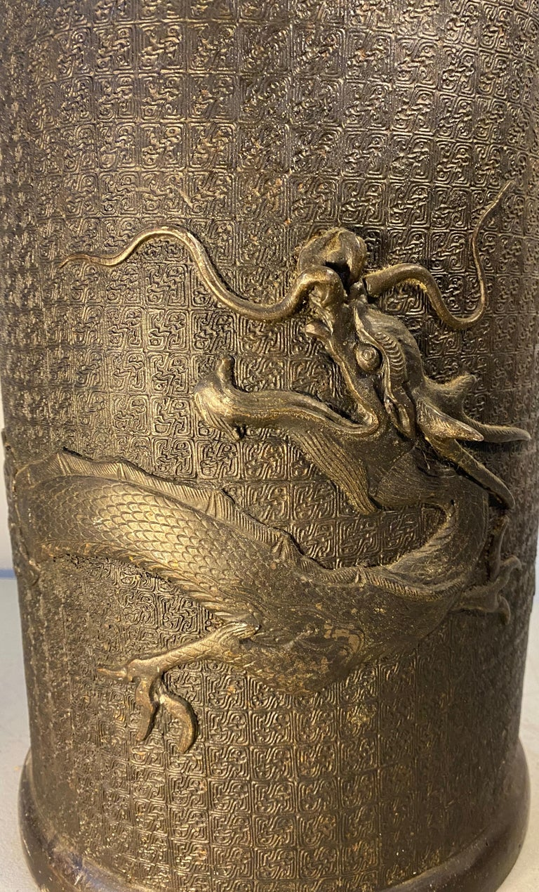 Antique Cast Bronze Japanese Umbrella / Cane Stand with Dragon Motif For Sale 4