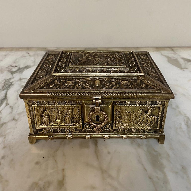 French Antique Cast Bronze Jewelry Box For Sale