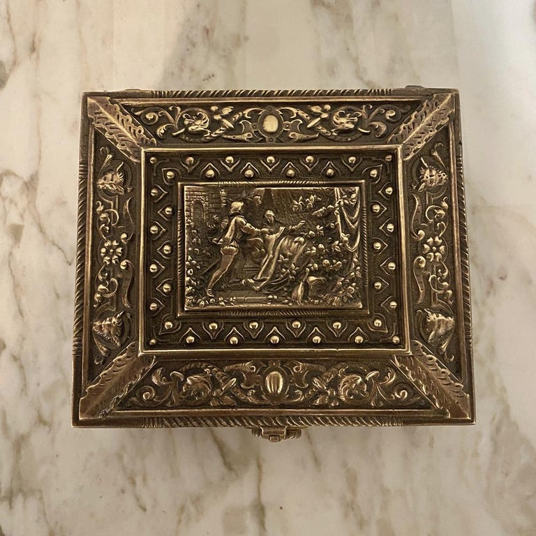 Hand-Crafted Antique Cast Bronze Jewelry Box For Sale