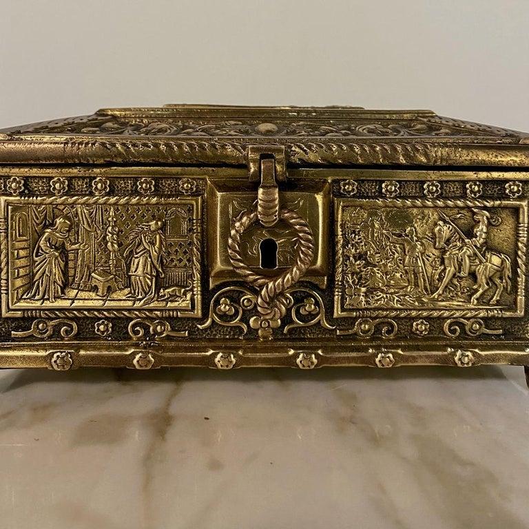 20th Century Antique Cast Bronze Jewelry Box For Sale