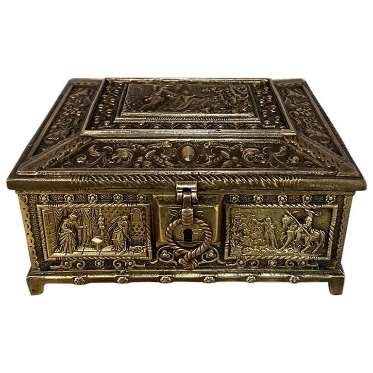 Antique Cast Bronze Jewelry Box For Sale