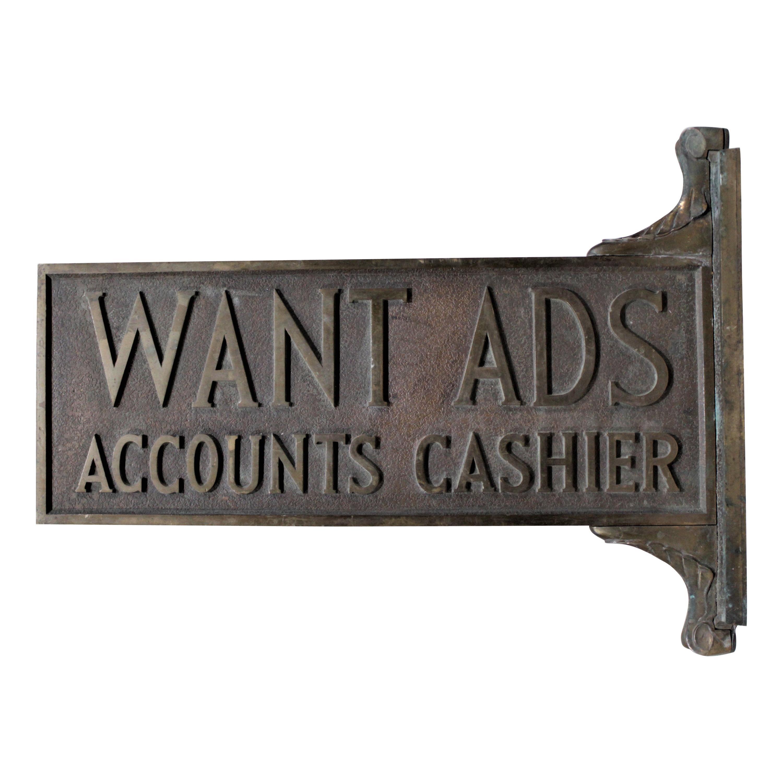 Antique Cast Bronze Newspaper Office Want Ad Accounts Cashier Flange Sign