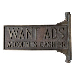 Antique Cast Bronze Newspaper Office Want Ad Accounts Cashier Flange Sign