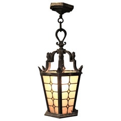 Antique Cast Bronze Outdoor Pendant Light Fixture with Stained Glass Panels