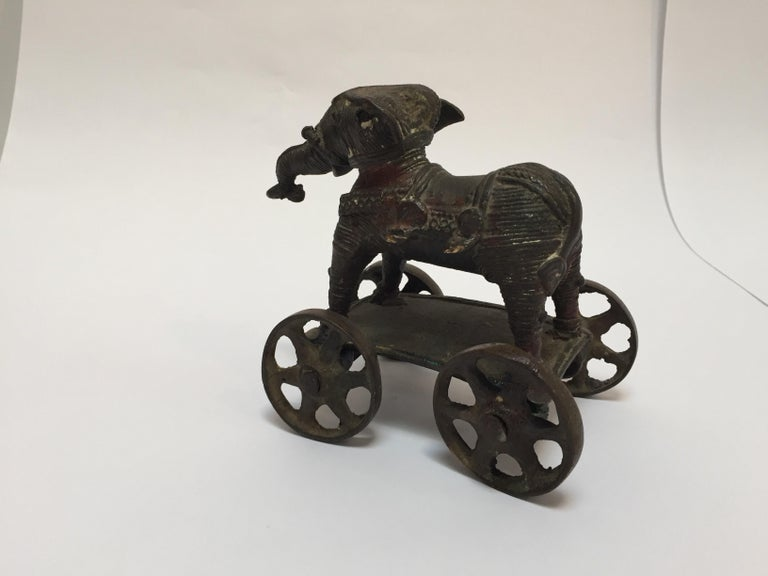 Antique Cast Bronze Temple Toy Elephant on Wheels India For Sale 4