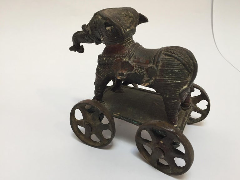 Antique Cast Bronze Temple Toy Elephant on Wheels India For Sale 5