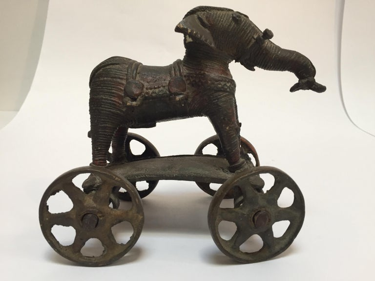 Antique Cast Bronze Temple Toy Elephant on Wheels India For Sale 7