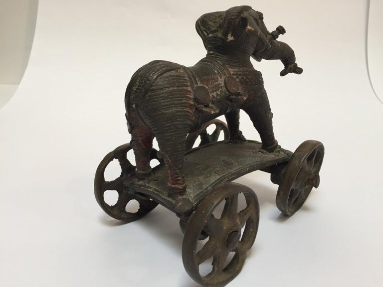 Antique Cast Bronze Temple Toy Elephant on Wheels India For Sale 8