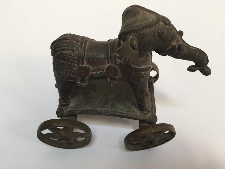 Antique Cast Bronze Temple Toy Elephant on Wheels India For Sale 11