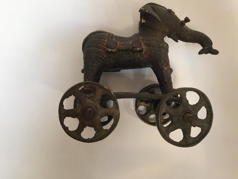 Antique Cast Bronze Temple Toy Elephant on Wheels India For Sale 13