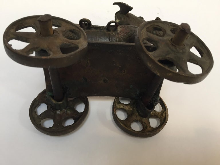 Antique Cast Bronze Temple Toy Elephant on Wheels India For Sale 14
