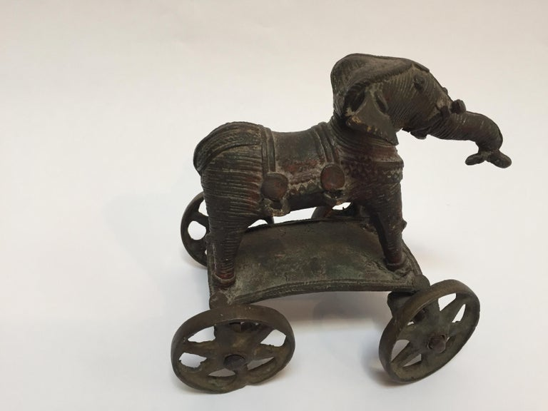 Indian Antique Cast Bronze Temple Toy Elephant on Wheels India For Sale