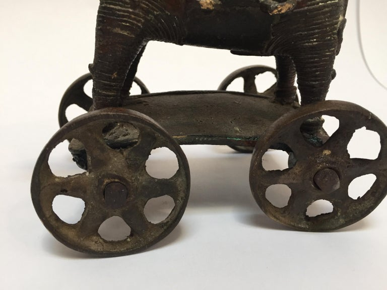 Antique Cast Bronze Temple Toy Elephant on Wheels India For Sale 1