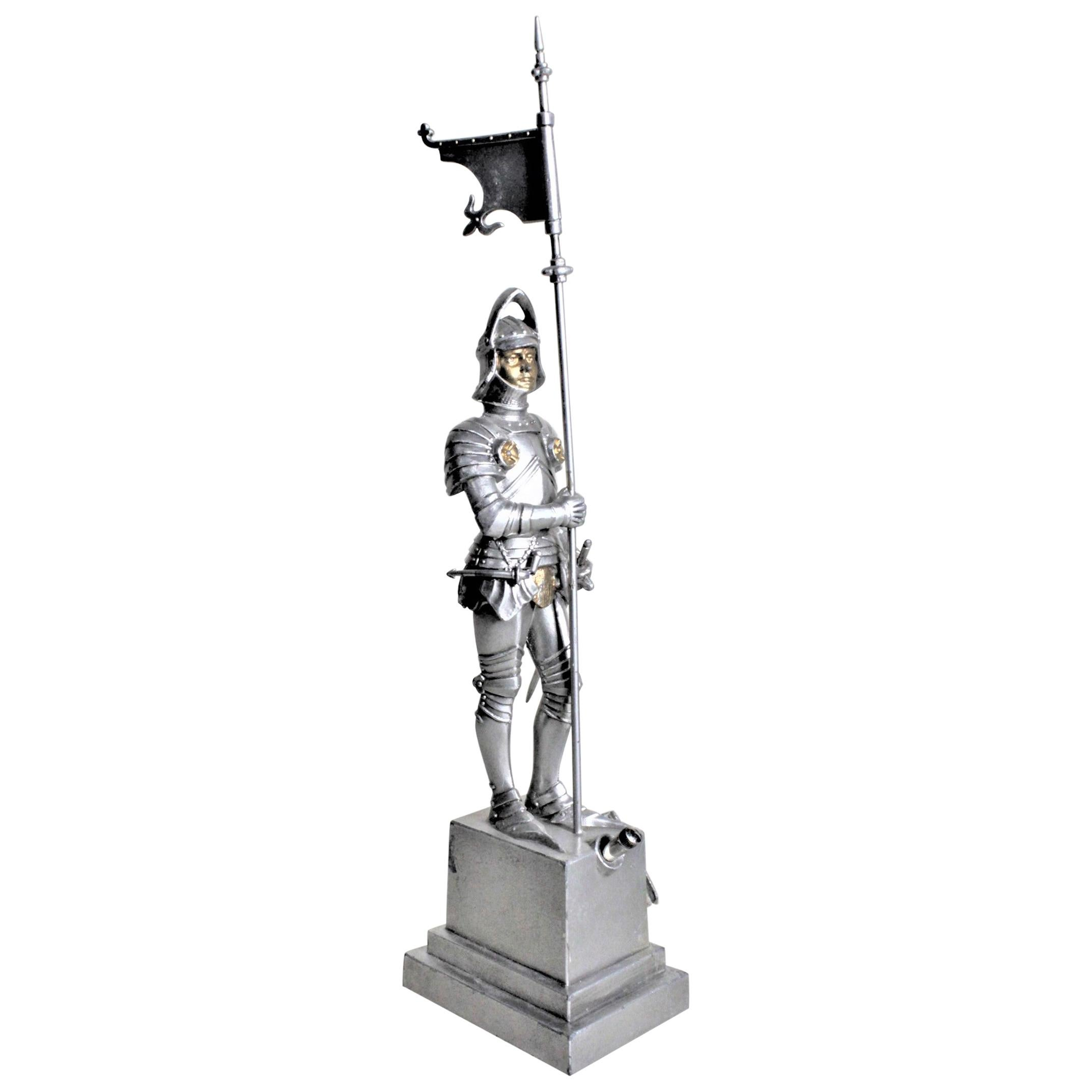 Antique Cast Figural Medieval Knight in Armor Cigar, Pipe or Cigarette Lighter