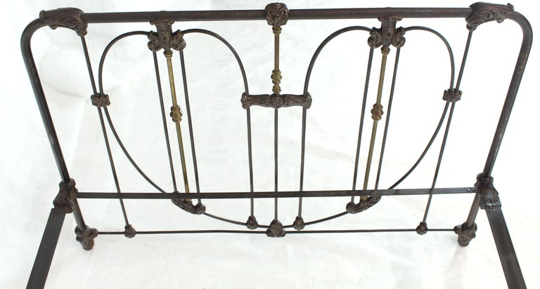 Antique Cast Iron and Brass Bed Heart Pattern Headboard