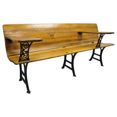 Antique Cast Iron and Oak Wood Long Victorian School Work Bench Desk