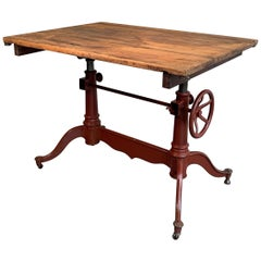 Antique Cast Iron and Pine Adjustable Drafting Table