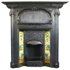 Antique Cast Iron Art Nouveau Combination Fireplace