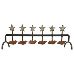 Antique Cast Iron Birds and Stars Spinning Shooting Gallery Target, Americana