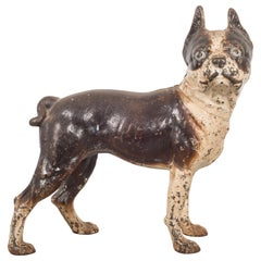 Antique Cast Iron Boston Terrier Doorstop by Hubley, circa 1910-1940