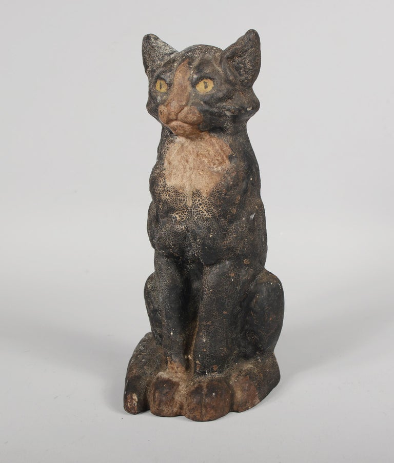 20th Century Antique Cast Iron Cat Door Stop by National Foundry