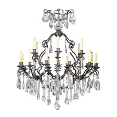 Antique Iron Cut Crystal 30-Light Continental Chandelier, Belle Epoque