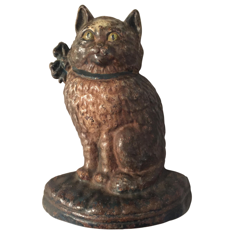 Antique Cast Iron Doorstop, Figure of a Cat